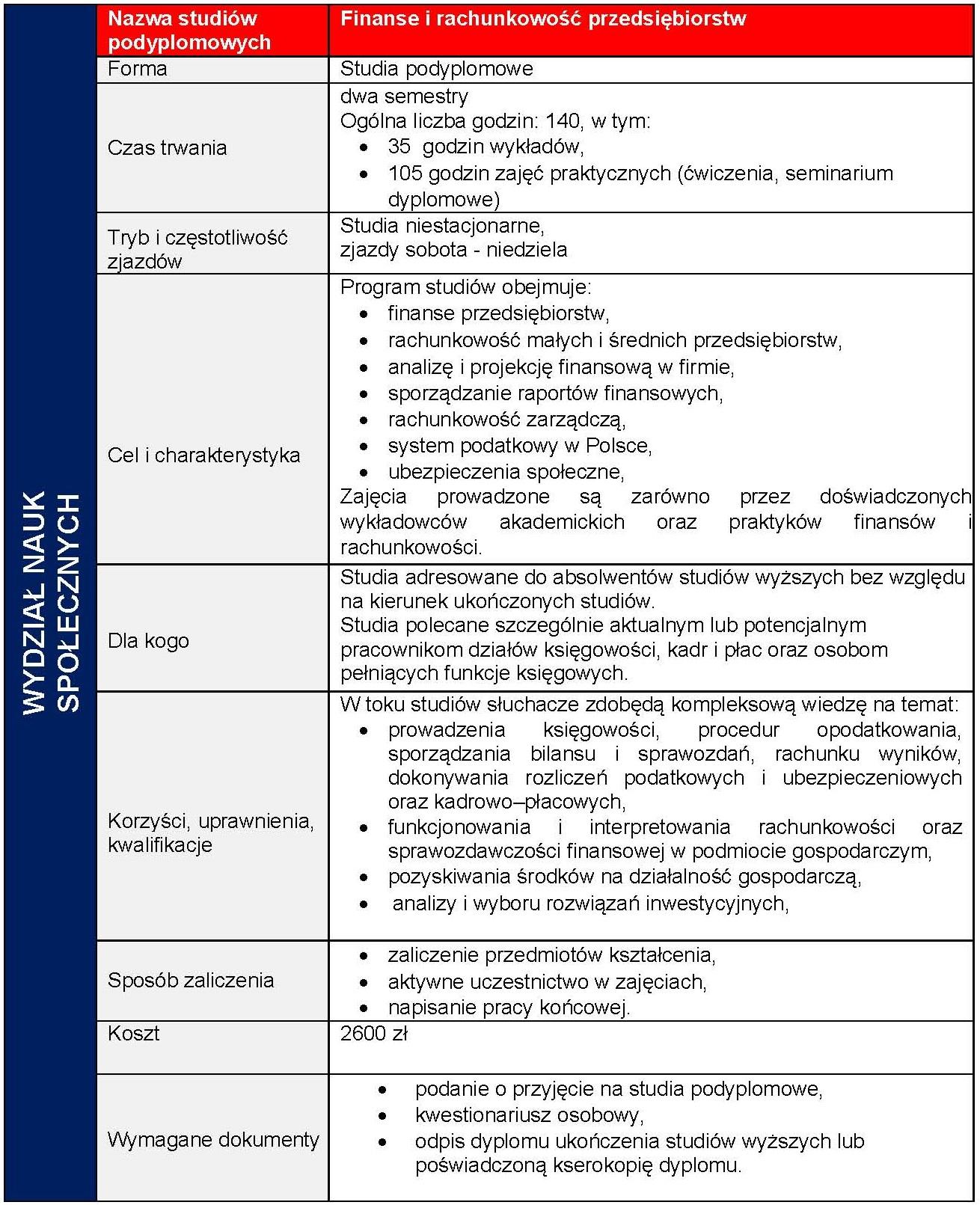 Ulotka informacyjna finanse i rachunkowosć przedsiębiorstw