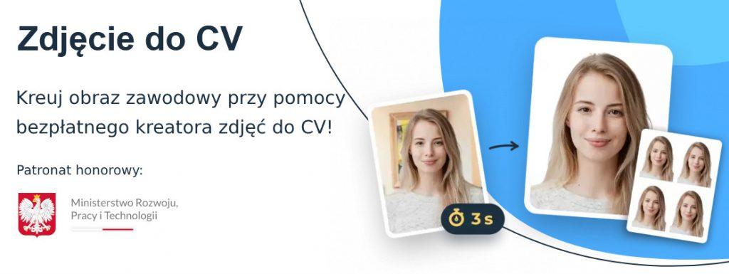 banner ukazujący zdjęcie do CV z tekstem Kreuj obraz zawodowy przy pomocy bezpłatnego kreatora zdjęć do CV
