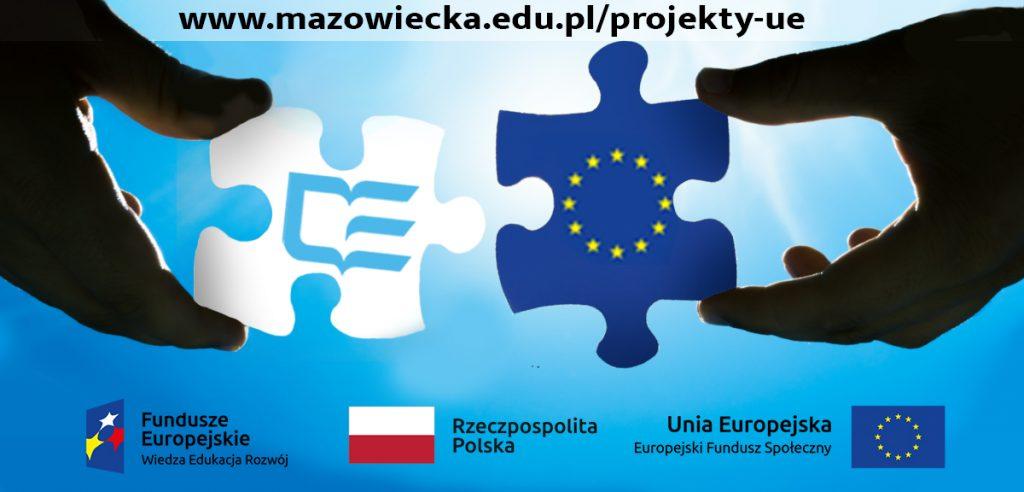 Dekoracyjne logotypy Funduszy Europejskich programów unijnych oraz uczelni