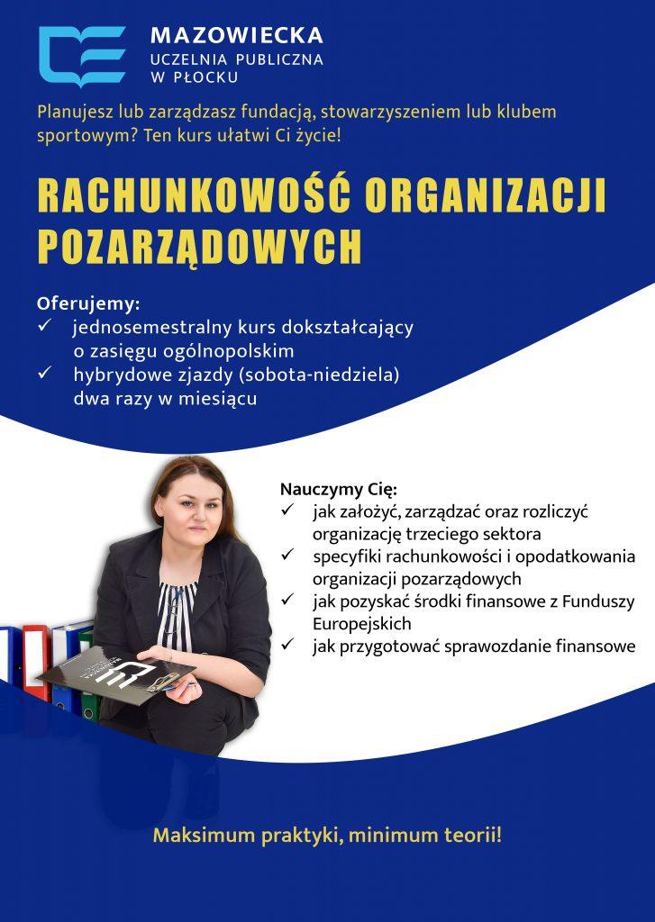 Wizualizacja pracownika biurowego, który bierze udział w kursie rachunkowości organizacji pozarządowych.