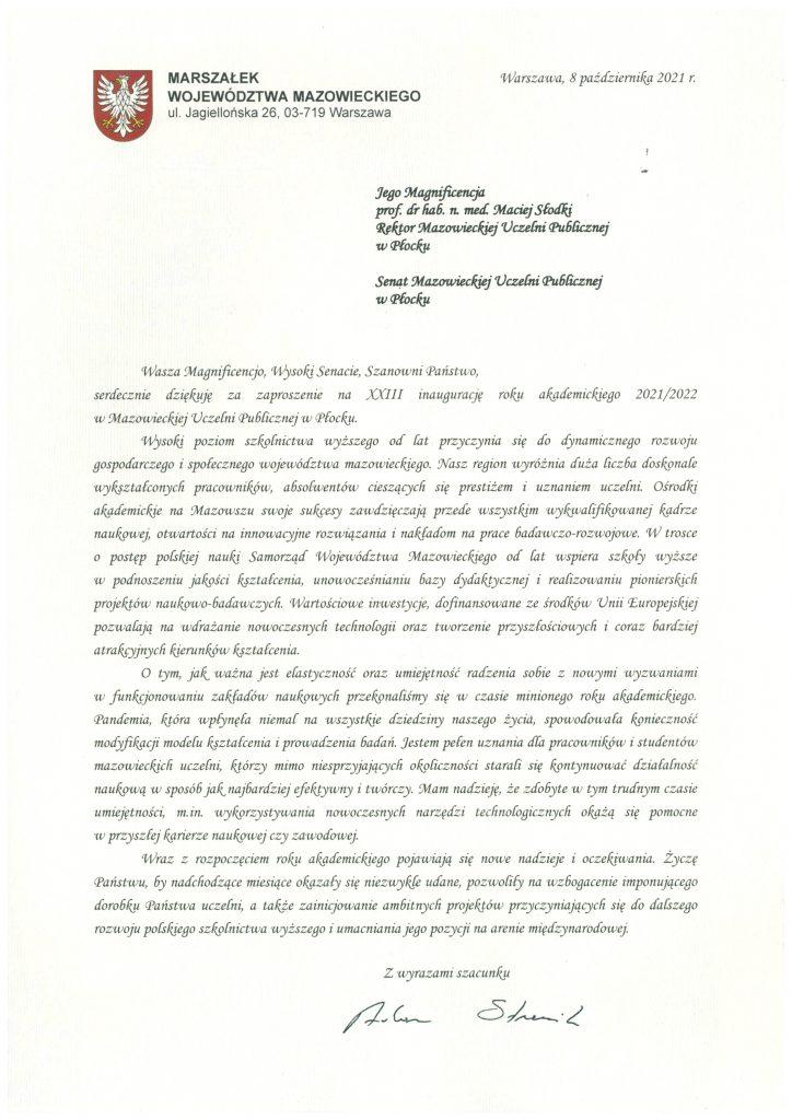 List gratulacyjny Marszałek Województwa Mazowieckiego