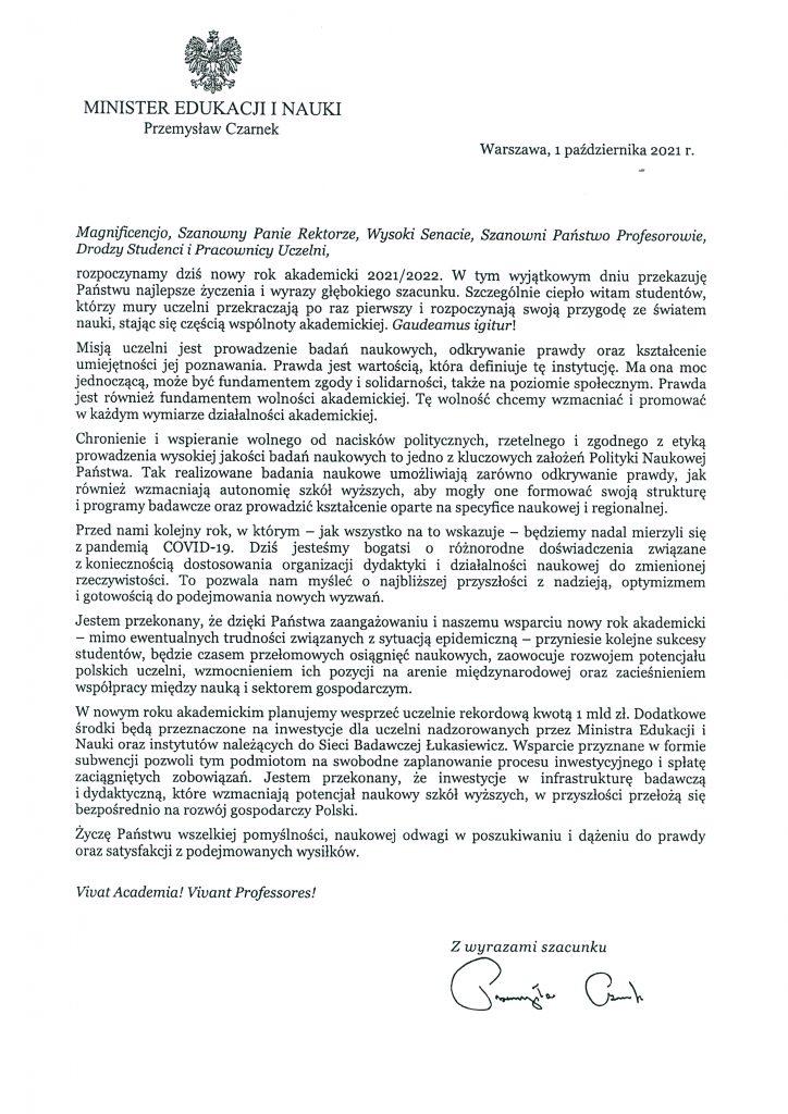 List gratulacyjny Minister Edukacji i Nauki