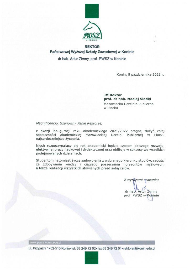 List gratulacyjny PWSZ w Koninie