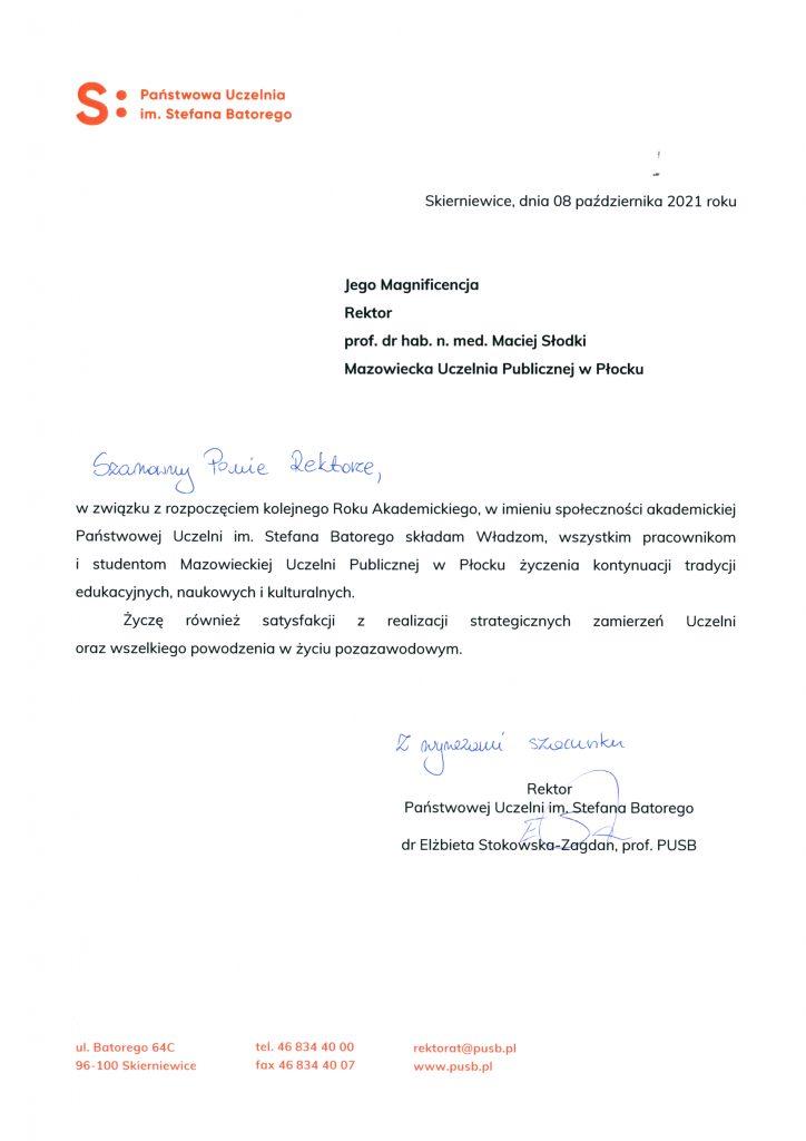 List gratulacyjny Państwowa uczelnia im. Stefana Batorego