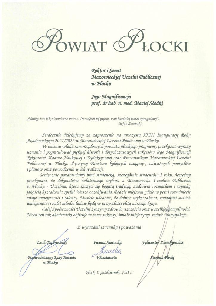 List gratulacyjny Powiat Płocki